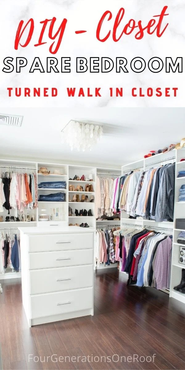 DIY spare bedroom turned walk in closet