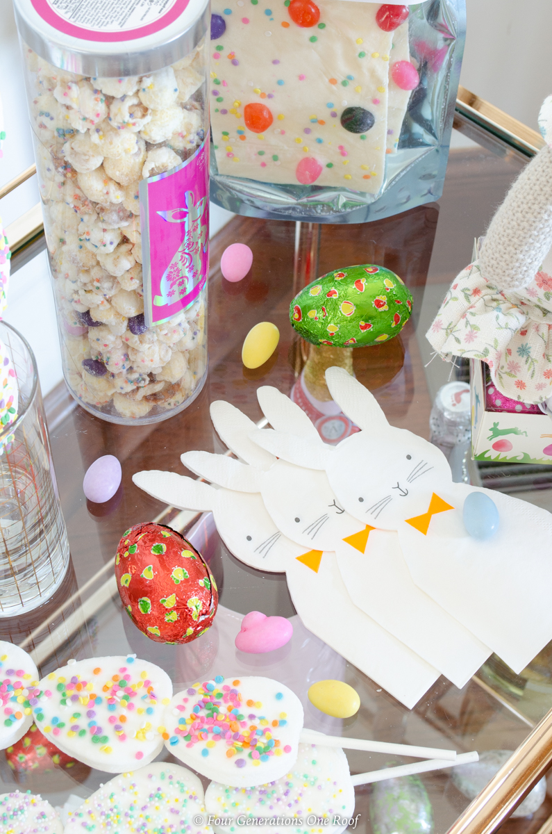 Easter bunny napkins, Easter candy on bar cart