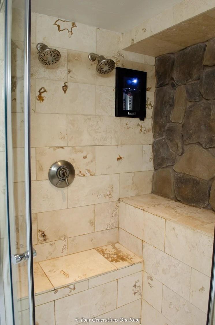 beer refrigerator in shower