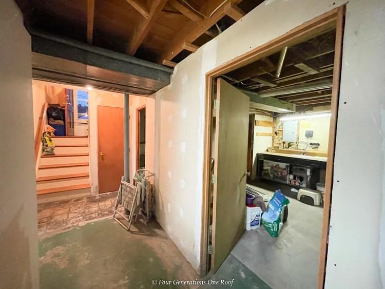 1970s split level basement unfinished