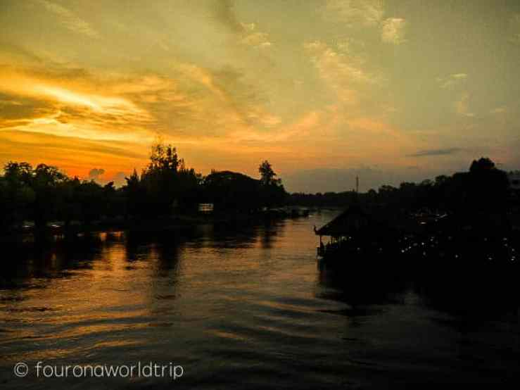 Kanchanaburi in Thailand, at the bridge on the river Kwai iirc