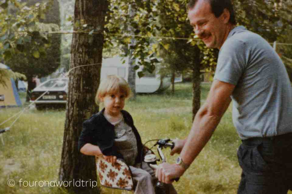 1984, just the year before my sister was born, with my father. The amount of stuff we brought down to the Garda Lake ...