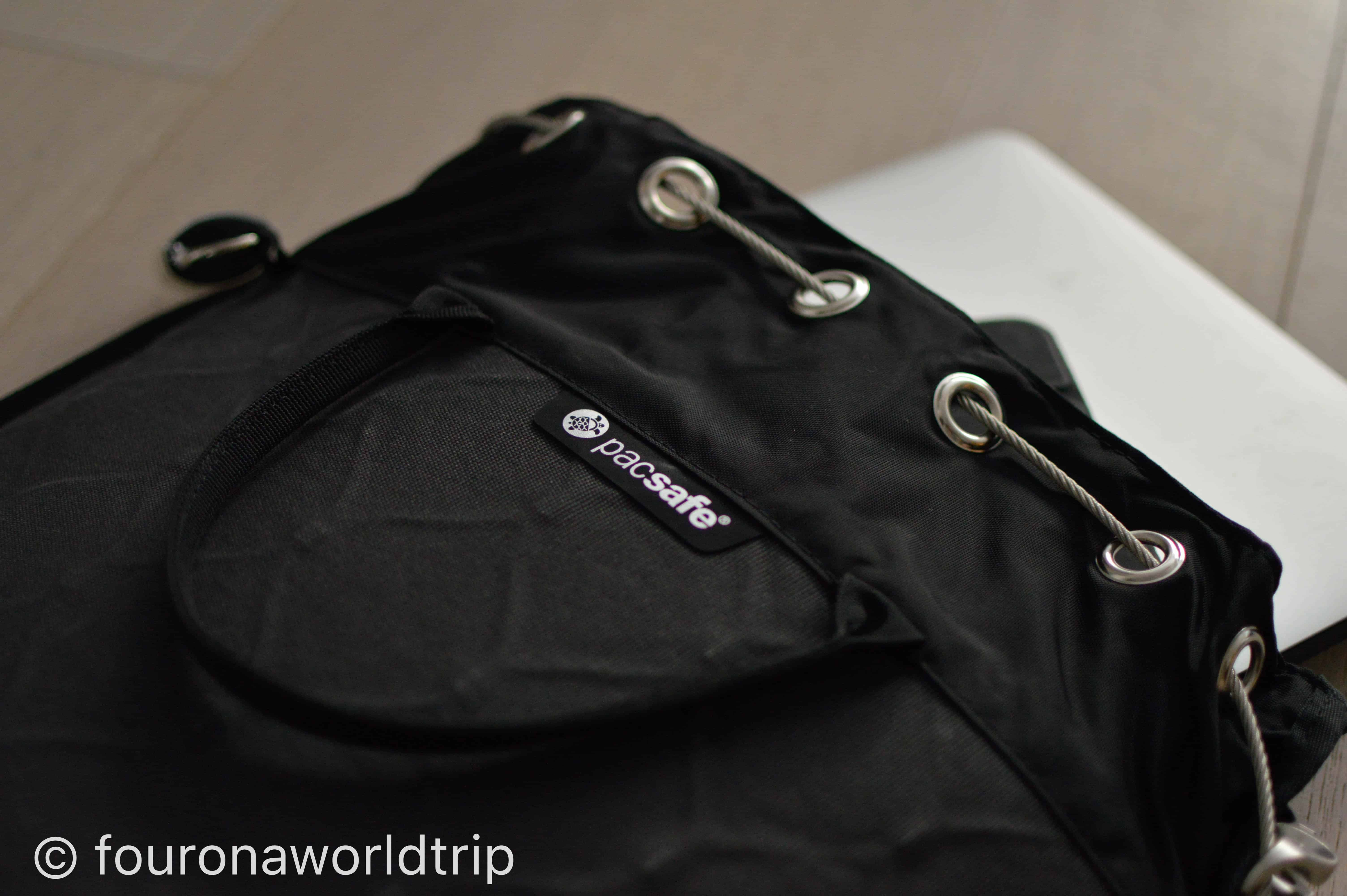 The 12l travel safe from pacsafe has enough capacity to hold your Laptop, a tablet, your phone, documents and/or your camera gear