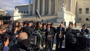 The Slants' Simon Tam outside Supreme Court