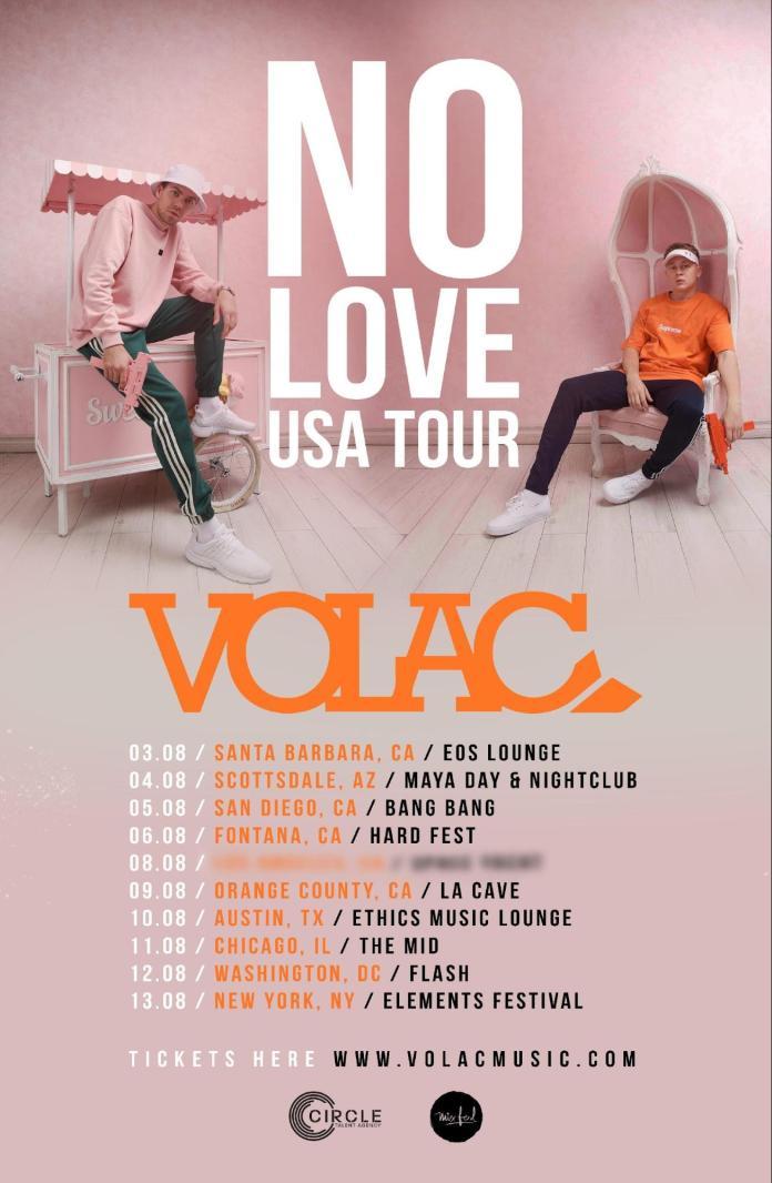 VOLAC No Love USA Tour poster