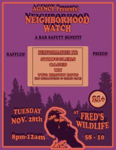 Agency Neighborhood Watch fundraising event poster