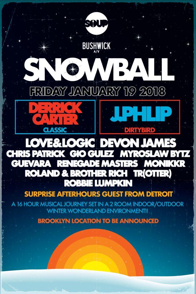 The Snow Ball Bushwick A/V SOUP NYC lineup poster