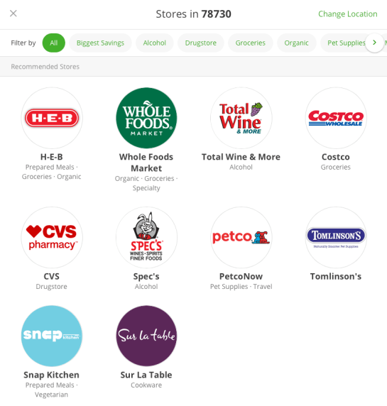 Instacart Store Options