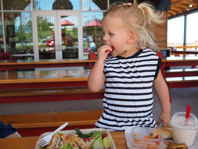 Parker eating salad