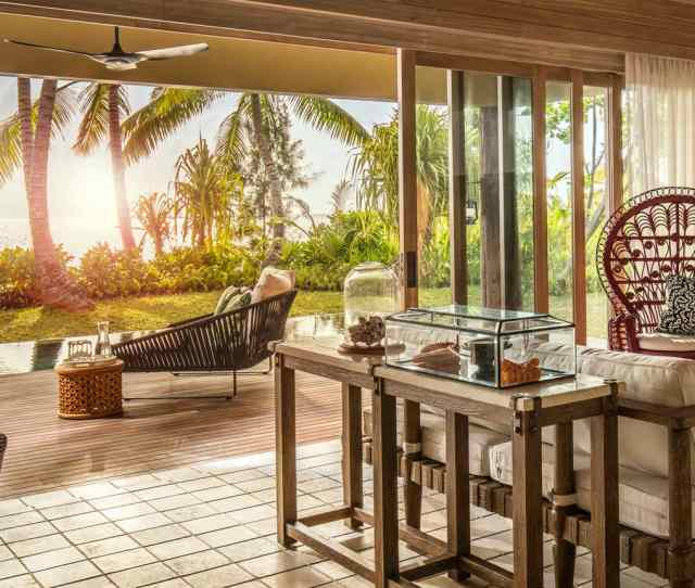 Two Bedroom Villa Living Room Under Wood Roof Open Air Wall To Patio