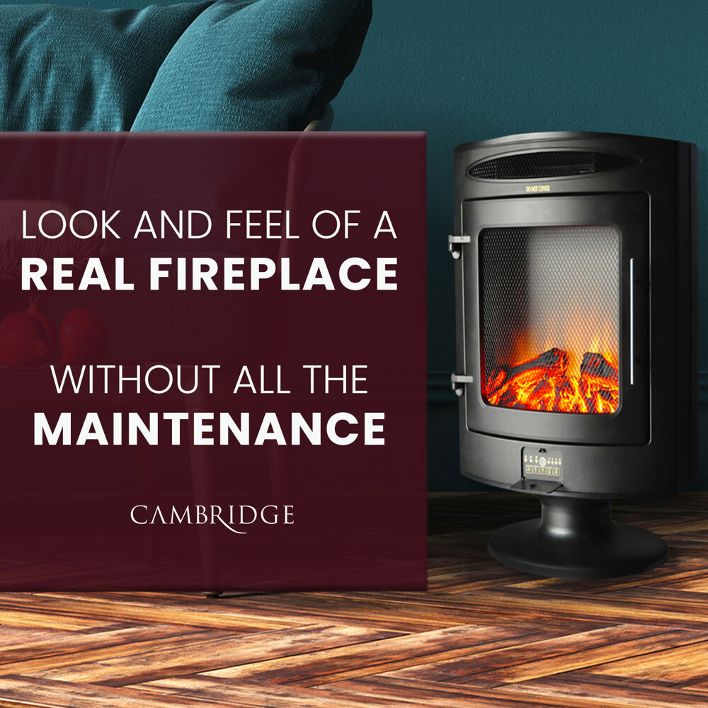 Cambridge 1500W Freestanding Electric Fireplace with Log Display  CAM20FSEF1BLK