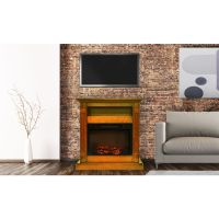 Sienna Fireplace Mantel with Electronic Fireplace Insert ...