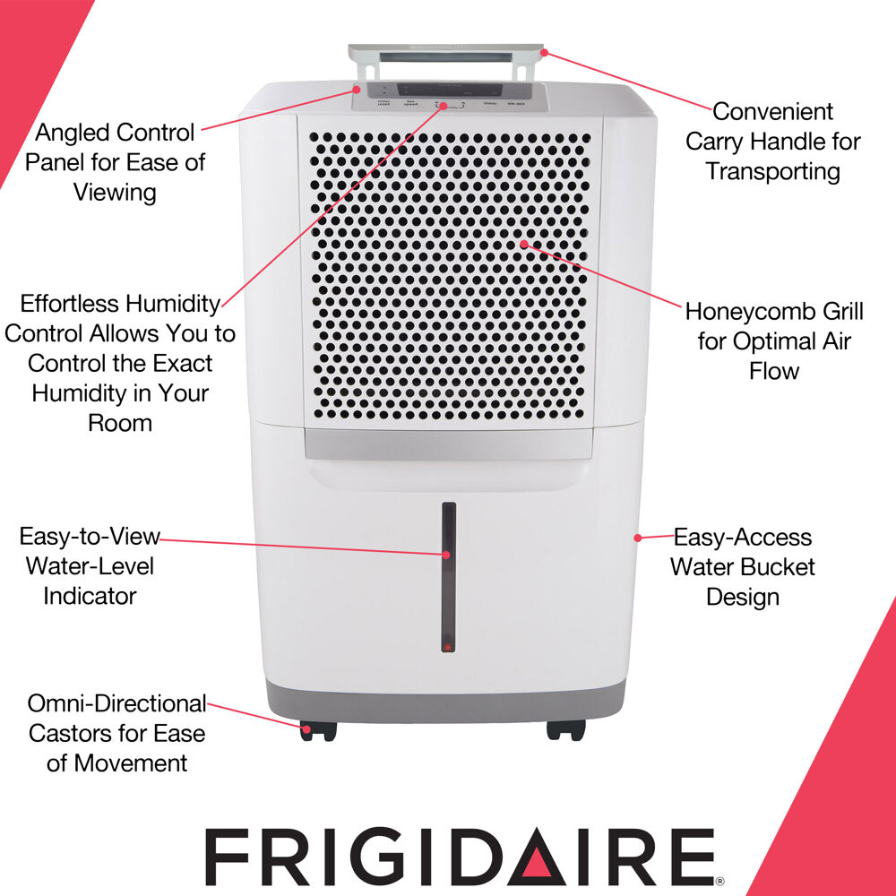 Frigidaire 70 Pint Portable Dehumidifier With Spacewise Design For Effective And Efficient Moisture Control Fad704dwd