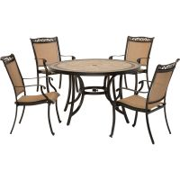 Fontana 5PC Outdoor Dining Set with 4 Dining Chairs and ...
