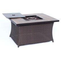 Gramercy 4pc Woven Fire Pit Set With Woodgrain Tile Top In