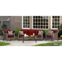 Gramercy 4pc Seating Set In Crimson Red - Gramercy4pc-red