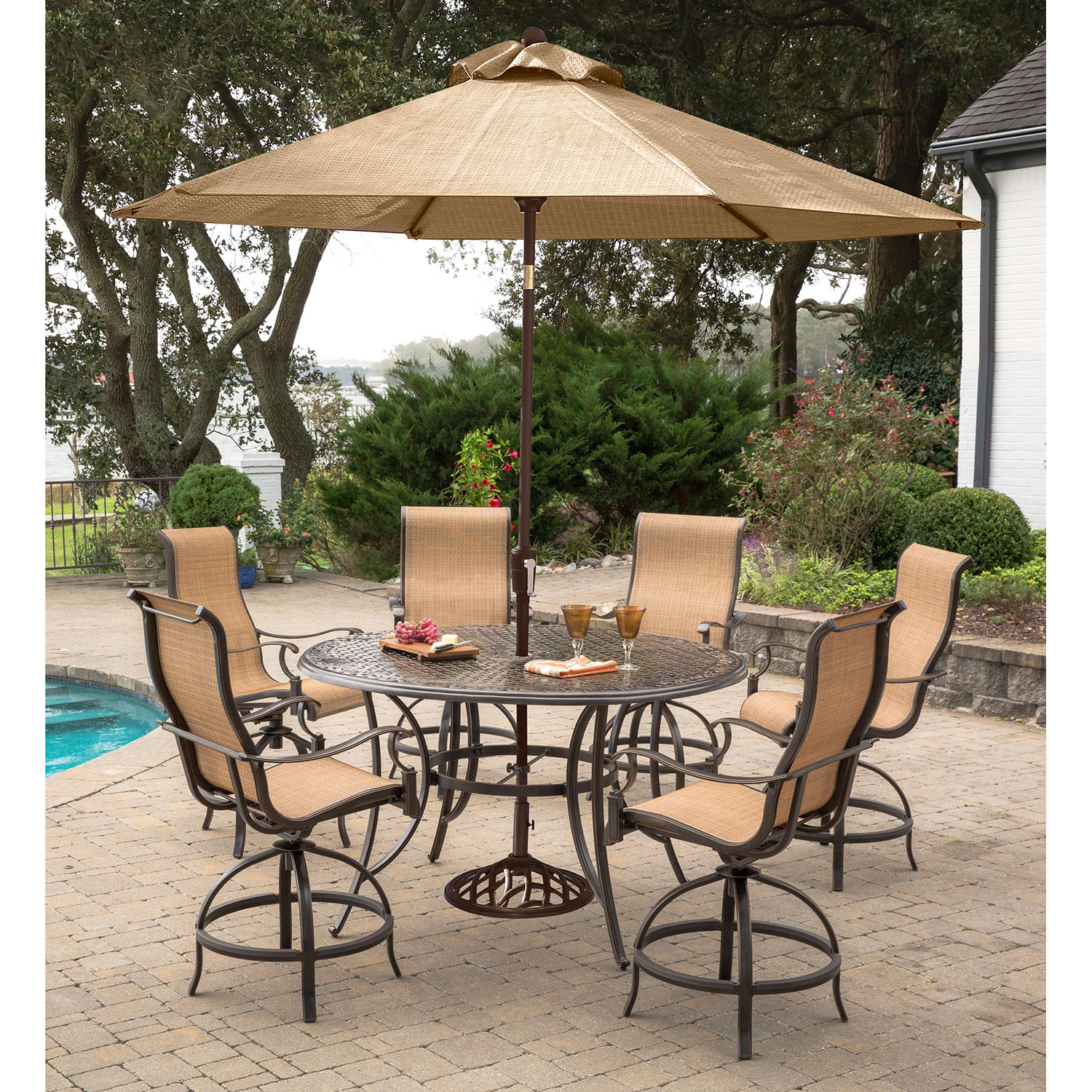 high top patio table and chairs yoga ball chair hanover manor 7 piece dining set with 6 contoured