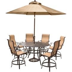 Outdoor High Top Table And Chairs Set Target Hanover Manor 7 Piece Dining With 6 Contoured