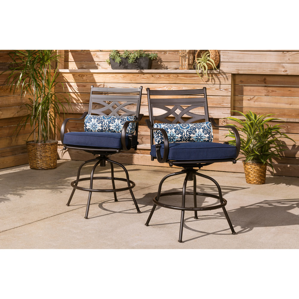 hanover montclair 5 piece high dining patio set in navy blue with 4 swivel chairs and a 33 in counter height dining table mclrdn5pcbr nvy