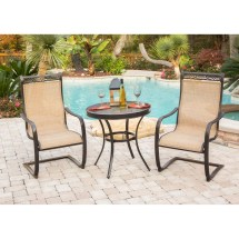 Monaco 3pc Bistro Set With -spring Sling Chairs And 30