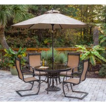 Monaco 5pc Outdoor Dining Set With -spring Chairs Glass