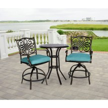 Hanover Traditions 3-piece High-dining Bistro Set In Blue