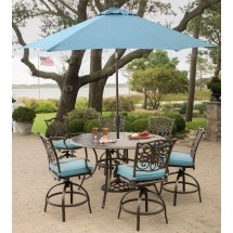 Hanover Traditions 7-piece High-dining Set In Blue With 9