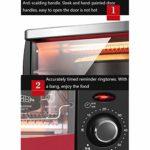 ZJDK Mini Four 12L avec réglage de température 0-230 ℃ et minuterie 0-60 Min, Grille-Pain à Porte Double vitrage 1050W Rouge