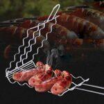 KEKEYANG Barbecue Grillage Saucisse Griller Panier rack for 6 Hot Dogs, outil barbecue en acier inoxydable Cookout Accessoires Extérieur