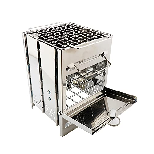 YNLRY Barbecue portable en acier inoxydable avec surface antiadhésive et grille de cuisson pliable pour camping, pique-nique 21 x 15 x 15 cm (couleur : argent)