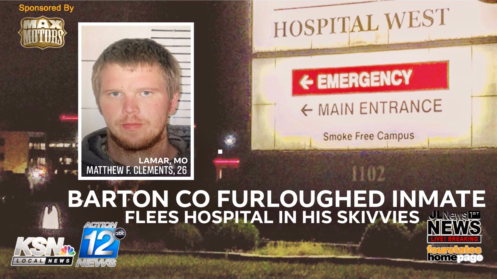 Barton Co furloughed inmate flees hospital in his skivvies