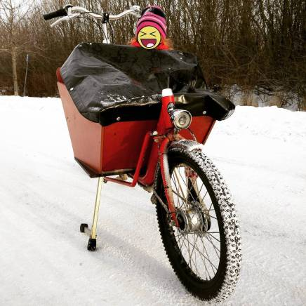 Bakfiets, kid & snow, cargo bike, Stockholm, Sweden