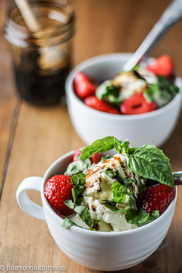 Balsamic Reduction Over Ice Cream, Strawberries, and Basil