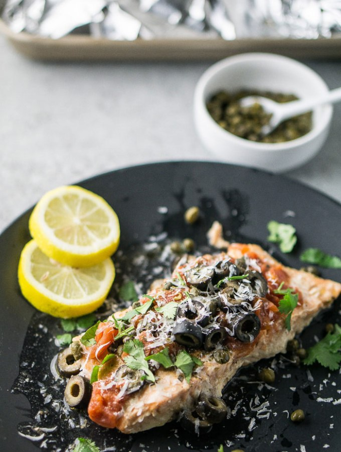 Salmon with Tomatoes, Olives, and Capers