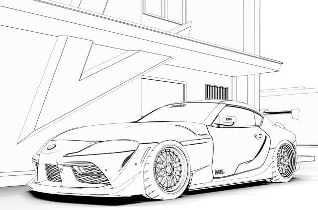 Car Coloring Pages: Toyota Supra, Ferrari F12, Nissan GT-R