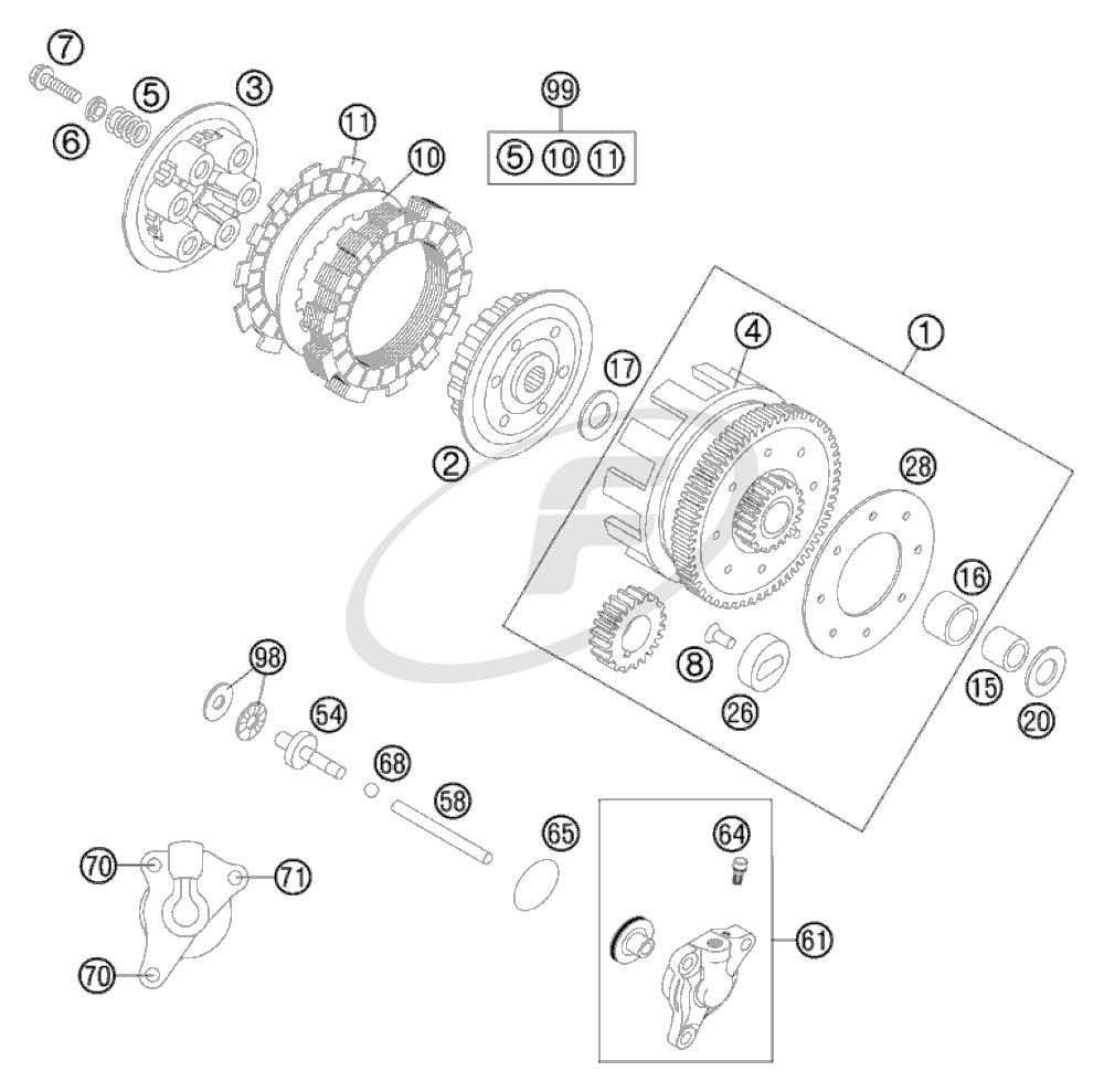 ktm 47032001144 outer clutch hub cpl 85 sx 07 ktm 85 clutch diagram [ 1000 x 989 Pixel ]