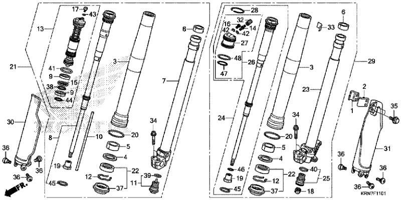 Honda 51480-KRN-A91 FORK SUB ASSY., R. FR. (SHOWA