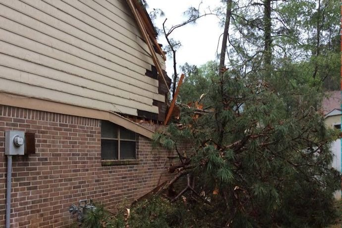 Maumelle tree on house April 9_-8879954137492668093