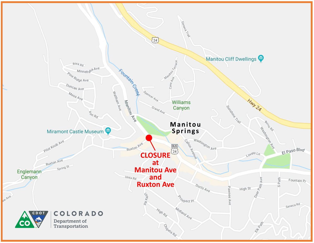 Map shows the portion of Manitou Avenue closed due to a sinkhole. Colorado Department of Transportation