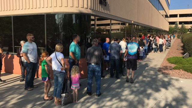 People wait in line to apply for hail damage assistance at the El Paso County Citizens Service Center Friday morning. Photo courtesy El Paso County