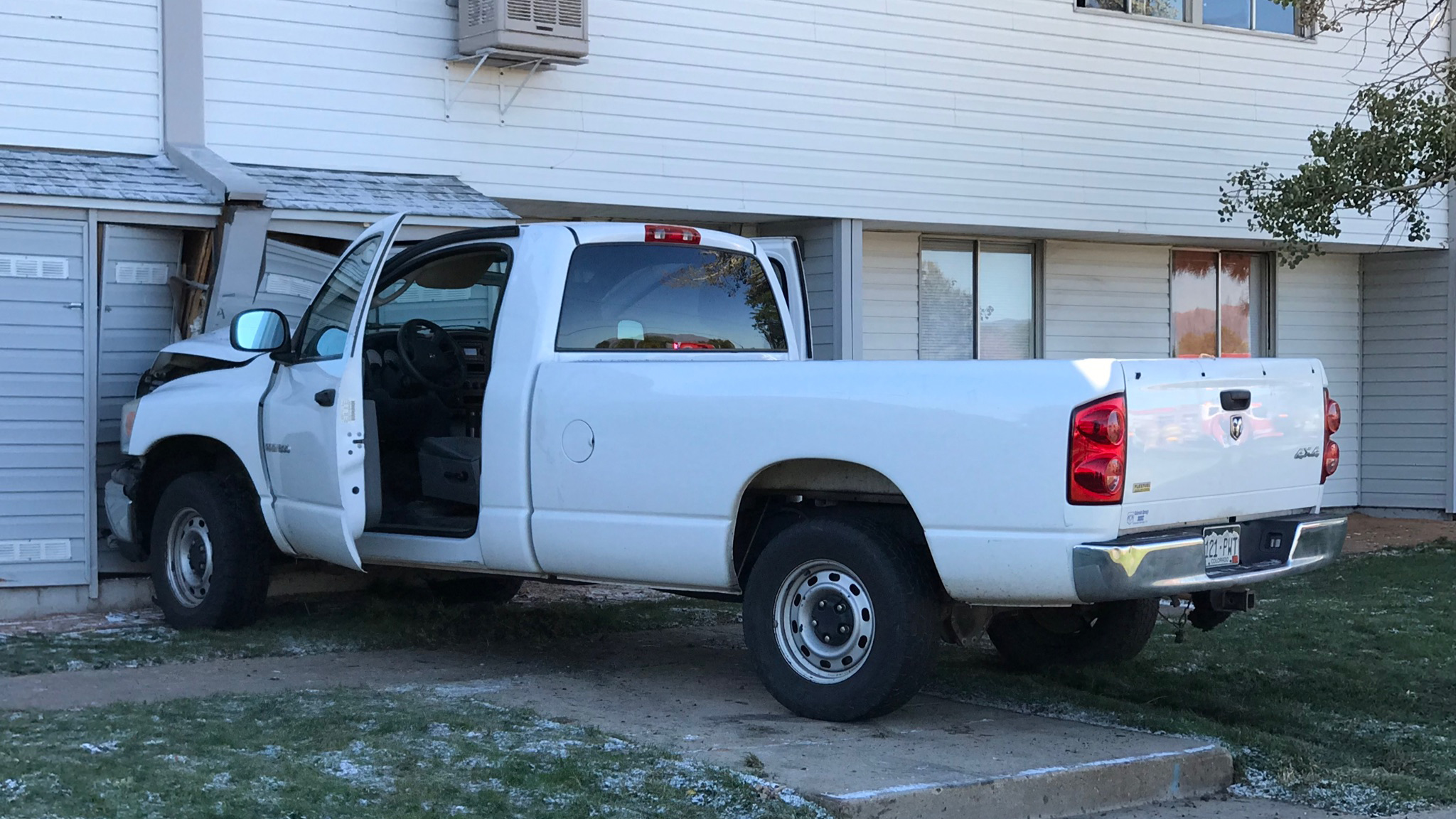 A pickup truck crashed into a building at the Murray Hill Apartments in eastern Colorado Springs Monday morning. Shawn Shanle - FOX21 News