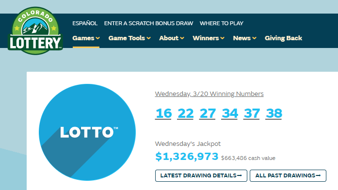 Wednesday's winning Lotto numbers are shown in this screenshot from the Colorado Lottery website.