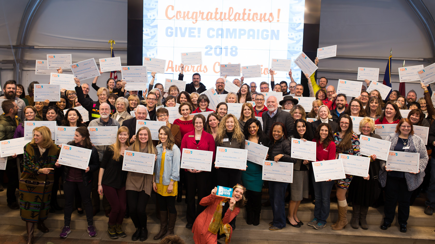 2018 Indy Give! participants received their checks at a ceremony in February. Photo courtesy Indy Give!