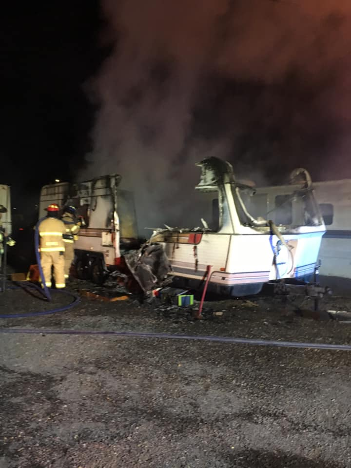 A woman sustained severe burns when the trailer she was living in caught fire early Friday morning. / Pueblo Police Department