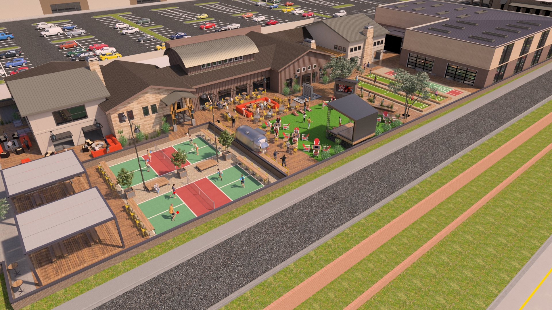 Rendering provided by Altitude Hospitality Group shows the open-air dining and entertainment complex that will replace the current Till restaurant location in Briargate.