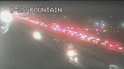 Traffic is backed up on northbound Interstate 25 at Santa Fe Avenue around 6:30 a.m. Thursday. / Photo courtesy CDOT