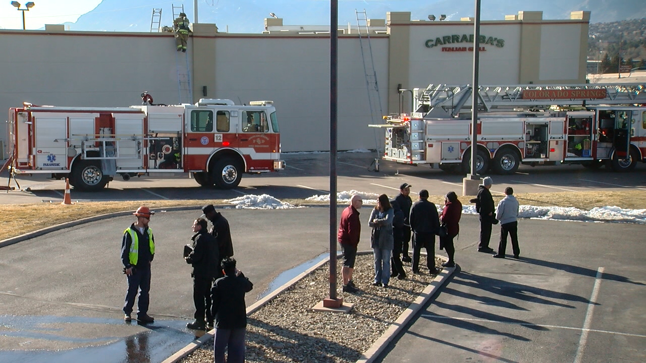 Firefighters on the scene of a fire at Carrabba's in northern Colorado Springs Friday morning. / Craig Denton Jr. - FOX21 News