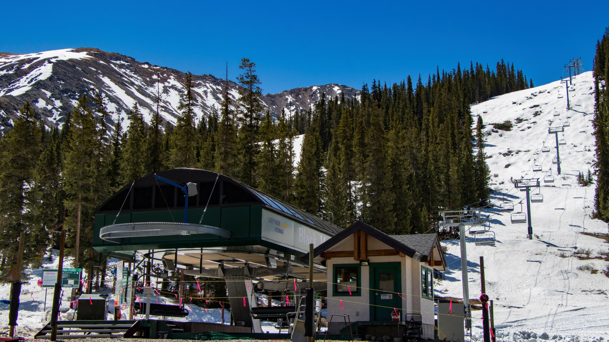 This Friday, May 22, 2020, photo provided by Arapahoe Basin shows Arapahoe Basin Ski Area in Summit County, Colo. The Colorado Department of Public Health and Environment will allow the partial reopening of the ski resort, effective Wednesday, May 27. This follows approval of Summit County's request for a variance from the state public health order by the Colorado Department of Public Health and Environment. Reservations are required. (Ian Zinner/Arapahoe Basin Ski Area via AP)