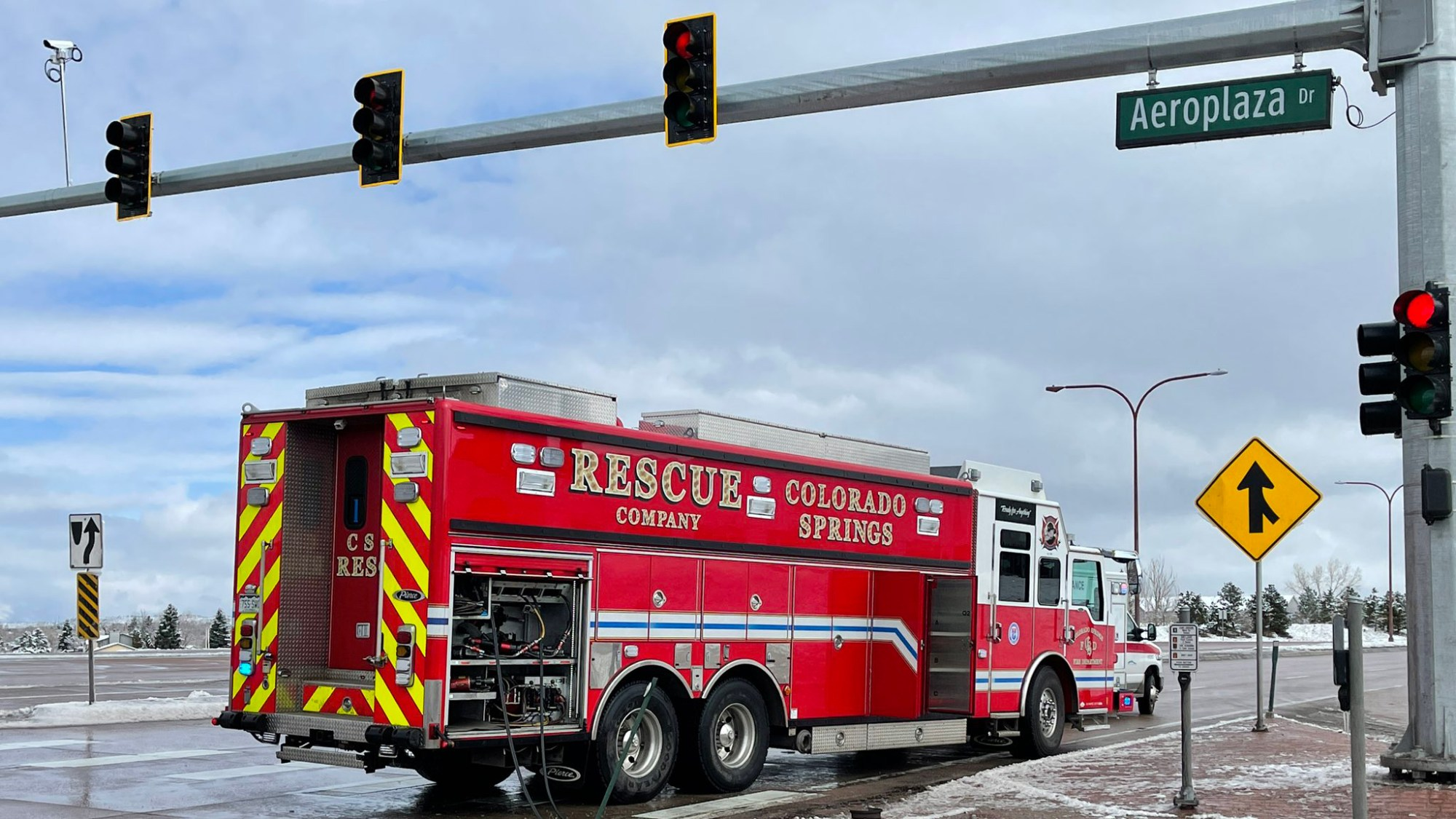 Crews respond to a crash at the intersection of Powers Boulevard and Aeroplaza Drive Friday morning. / Courtesy Colorado Springs Fire Department