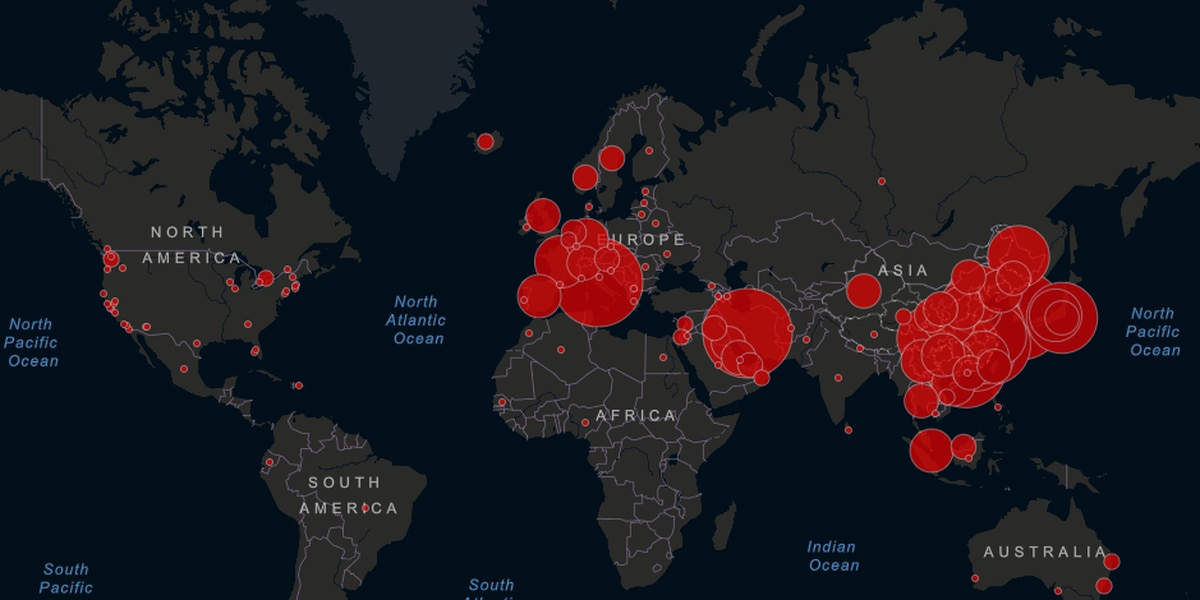 Interactive map shows all reported coronavirus cases in the world
